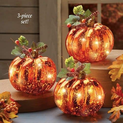 Harvest Pumpkin Set of 3 with LED lights - Fall Centerpiece