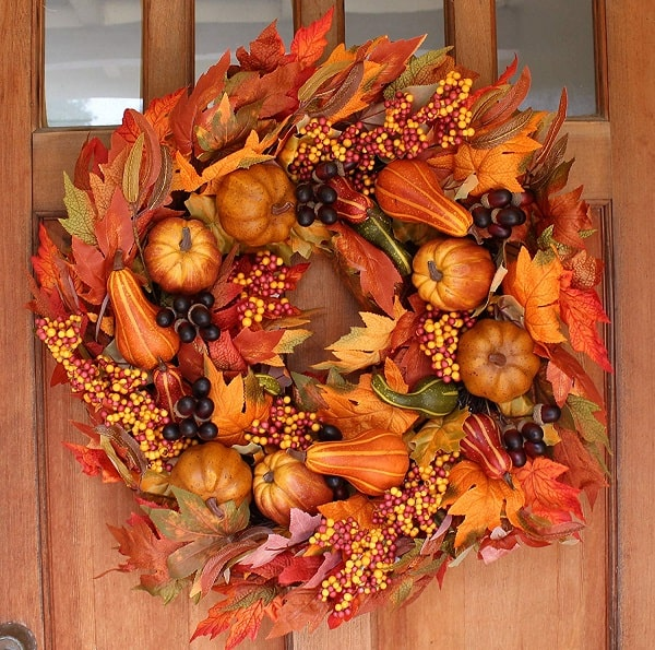 Silk Fall Door Wreath with mini pumpkins, gourds, acorns and silk fall foliage.
