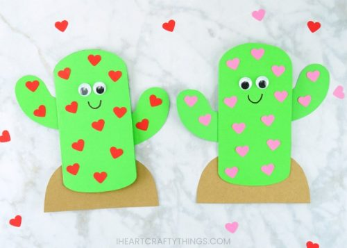 Cute Cactus Valentine's Day Card Craft for Kids - Easy Kids Craft Ideas for Valentine's Day