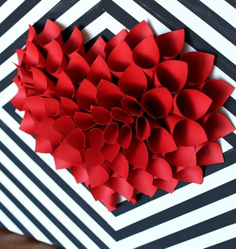DIY Paper Heart Wreath - February Craft Ideas - Valentine's Day Wreaths to Make