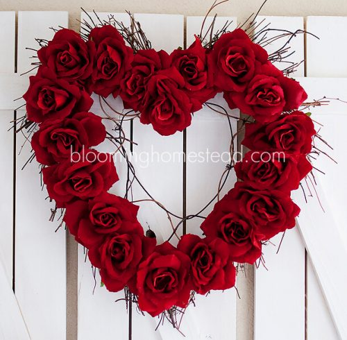 DIY Valentine Wreath with Roses