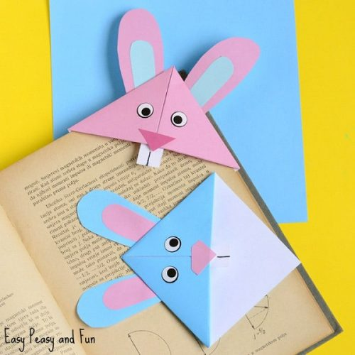 Easter Bunny Corner Bookmark - DIY Origami Craft for Easter