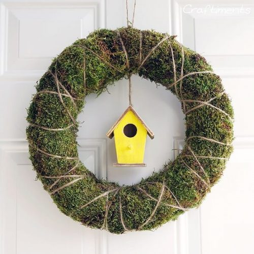 Moss Twine Birdhouse Spring Wreath