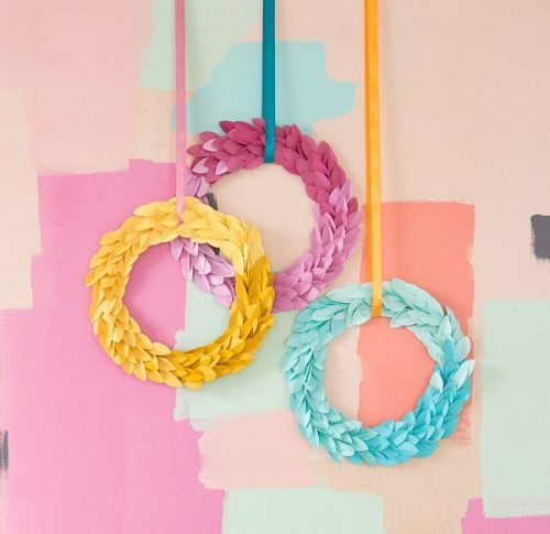 Ombre Paper Pastel Leaves Wreath