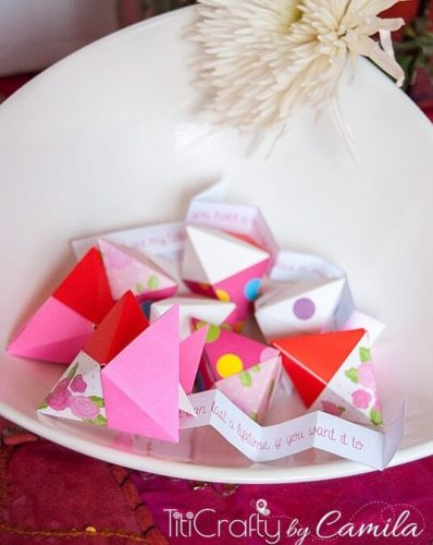 Origami Fortune Cookie for Valentine's Day