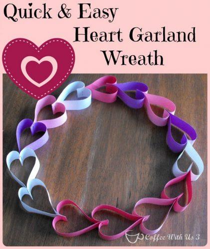 Paper Heart Garland Wreath - Easy DIY Valentine's Day Crafts
