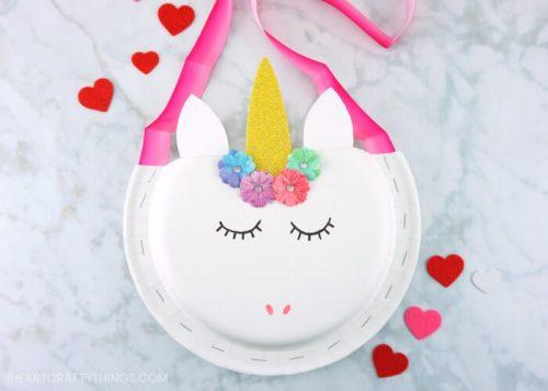 Paper Plate Unicorn Valentine Holder - Valentines day crafts for kids