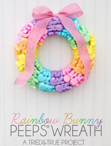 Rainbow Bunny Peeps Wreath
