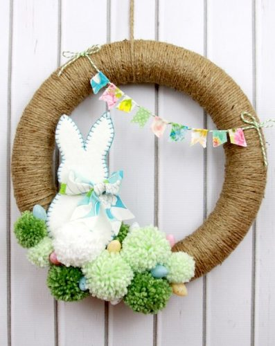 Spring Pom Pom Wreath - Easy DIY Easter Wreaths