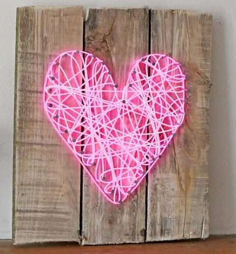 String Neon Heart Sign for Valentine's Day - Valentine's Day Crafts for Adults