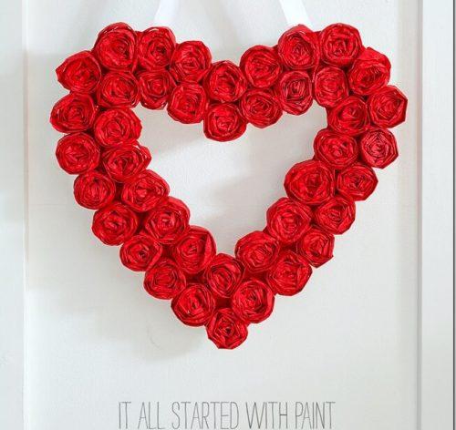 Tissue Paper Valentine Wreath - Valentine's Day Wreaths to Make