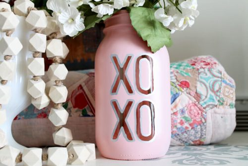 Valentine's Day Mason Jar Vase - Valentine's day craft ideas for adults