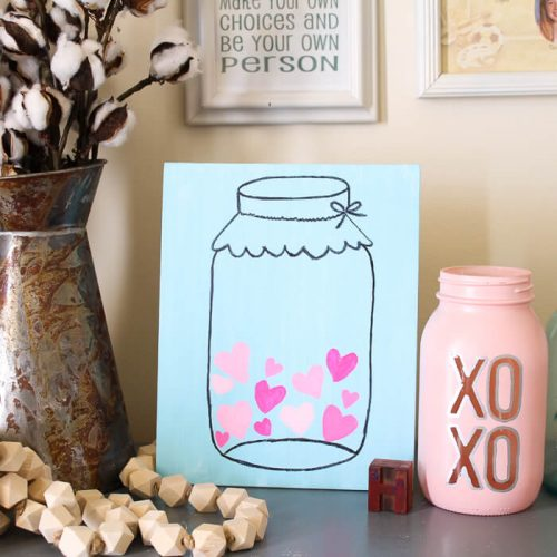 Valentines Mason Jar Picture on Canvas - Mason Jar Crafts - Valentines Days Crafts for Adults