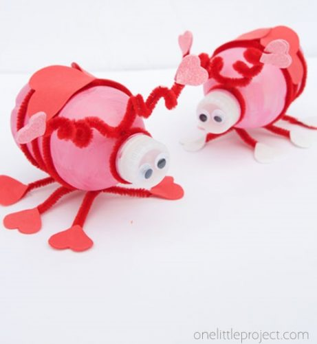 Water Bottle Love Bugs - Water Bottle Love Bugs - February crafts for kids - Valentines day crafts for kids