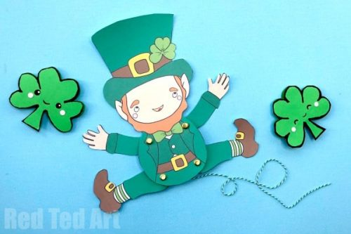 Leprechaun Paper Puppet - St. Patrick's Day Crafts for Kids
