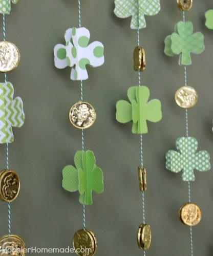 Paper Shamrock Garland with Gold Coins