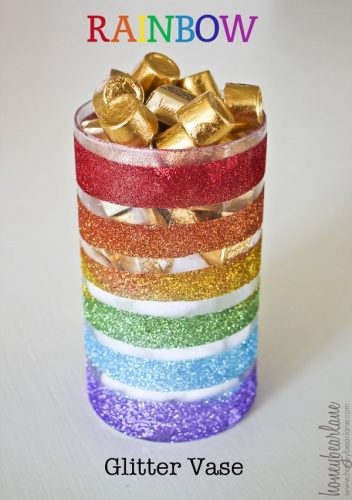 Rainbow Glitter Vase - DIY St. Patrick's Day Decor