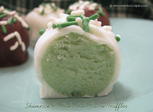 Shamrock No-Bake Cake Batter Truffles