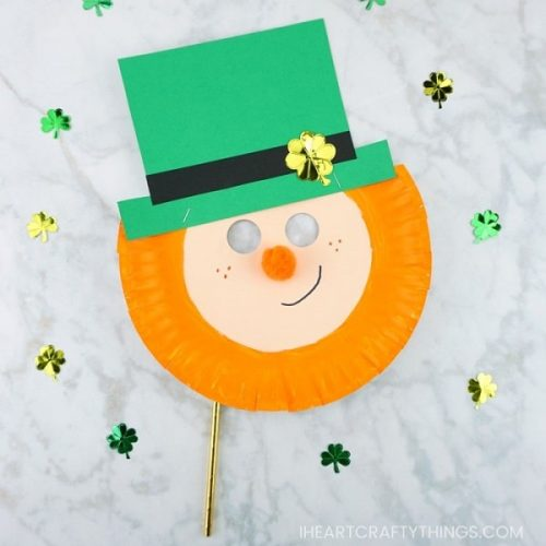 St. Patrick's Day Crafts for Kids - Paper Plate Leprechaun Mask