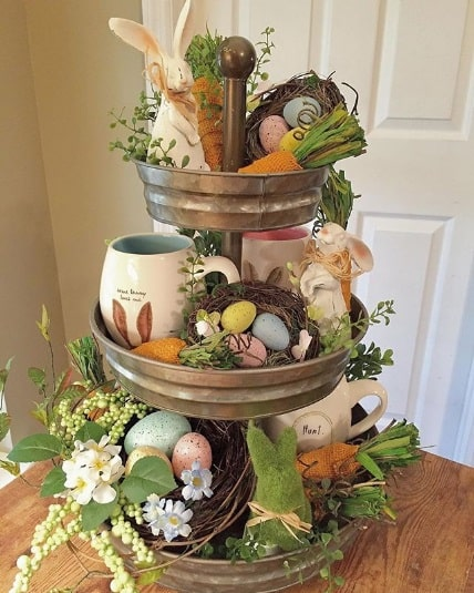 Easter Centerpiece Made with 3 Tiered Tray