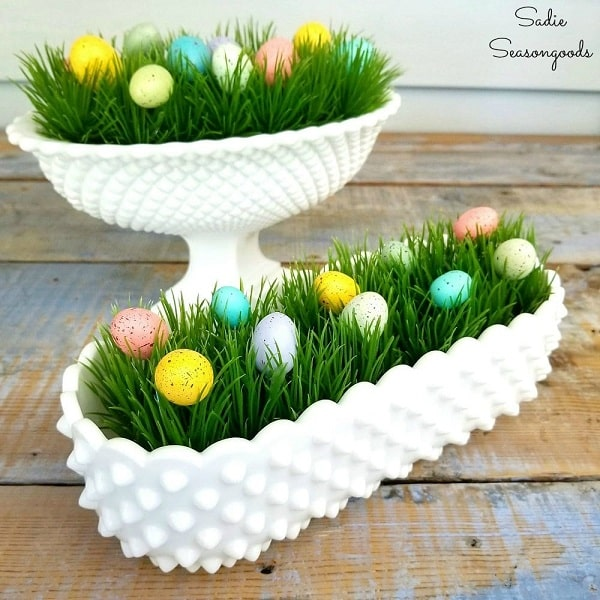 Easter Decor in Hobnail Milk Glass - Beautiful Easter Centerpieces That Are Easy To Make