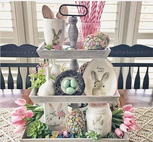 Wooden 3 Tier Tray with Easter Eggs, Tulips and Bunnies