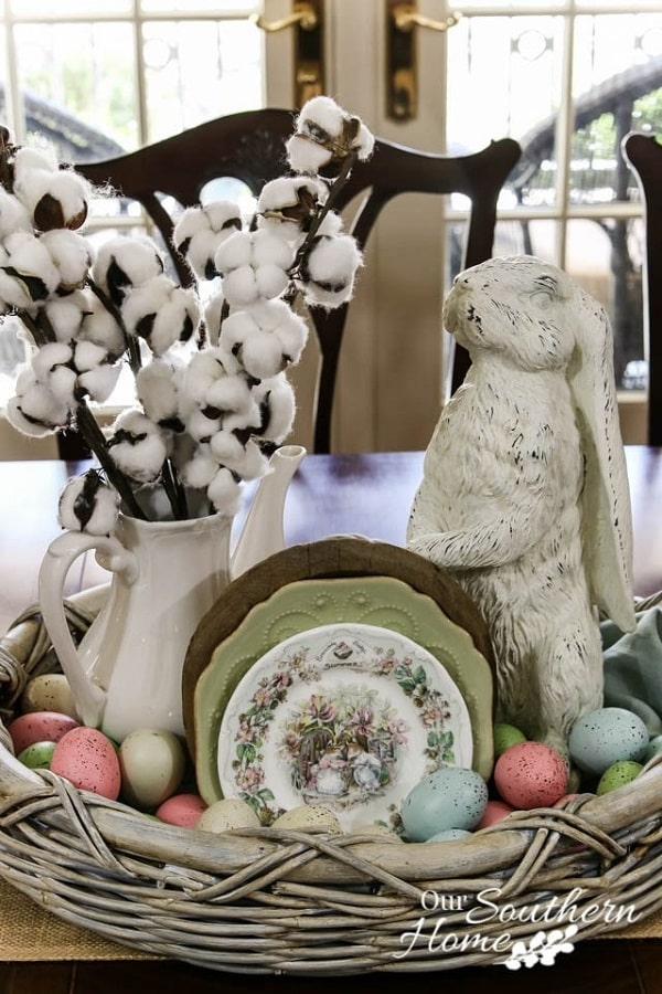 10-Minute Spring Centerpiece with Bunny, Cotton Stems and Easter Eggs