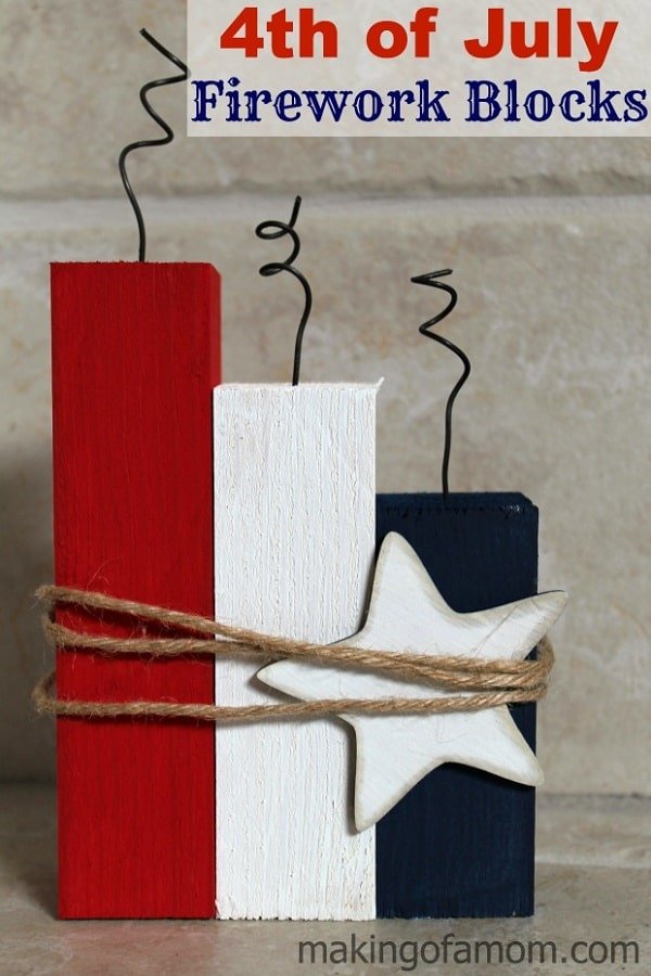 4th of July Firework Blocks - Dollar Store 4th of July Decor Ideas