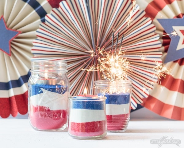 American Flag Mason Jar Easy Sand Art