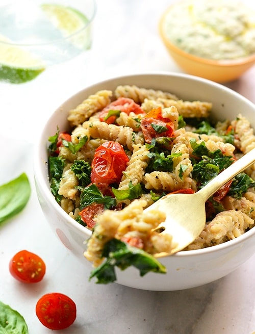 Creamy Vegan Pasta with Sautéed Kale, and Tomatoes