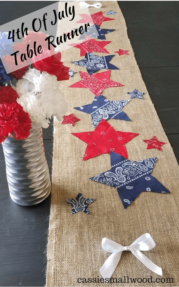 DIY No Sew 4th Of July Table Runner – Burlap With Stars