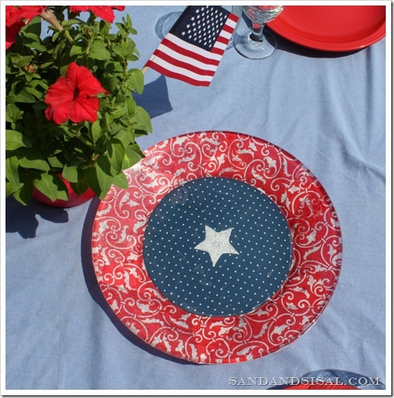 Patriotic Platter Made with Mod Podge