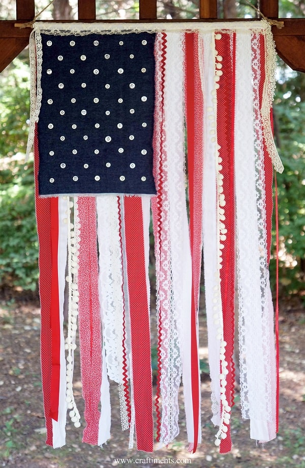 Patriotic Ribbon, Lace & Fabric Scrap Flag