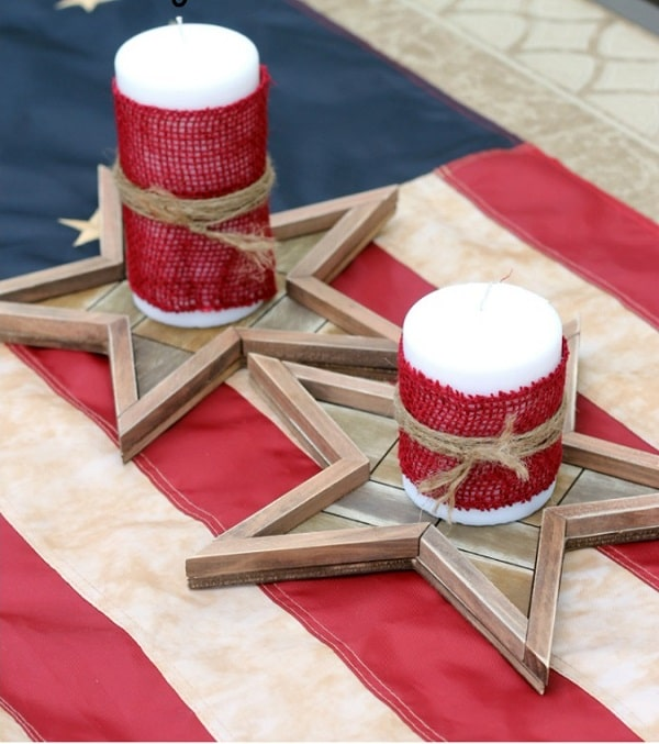 Rustic 4th Of July Candle Holders