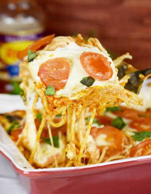 Tomato Basil Baked Spaghetti Casserole