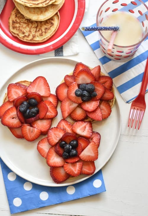 4th of July Pancake Fireworks - Delicious pancakes topped with strawberries and blueberries