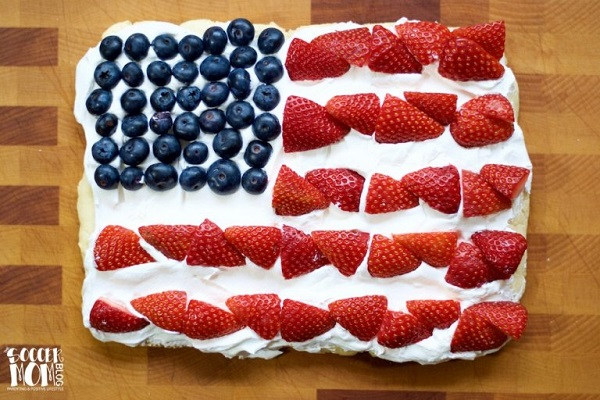 Gluten Free, Dairy Free American Flag Fruit Pizza - Gluten Free, Dairy Free 4th of July Desserts